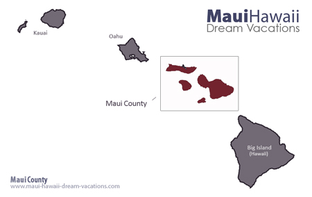 Hawaii Facts -Maui County Map Hawaiian Islands