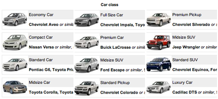 Maui Auto Rental Car Categories