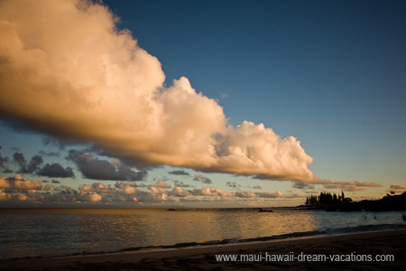 Maui Sunset Picture with Beautiful Clouds