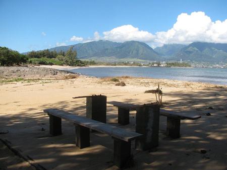 Maui Tsunami Pictures Kanaha Beach Picnic Table