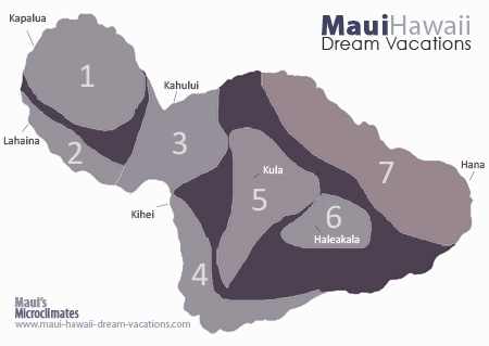 Hawaii Facts - Maui Weather Map of Microclimates
